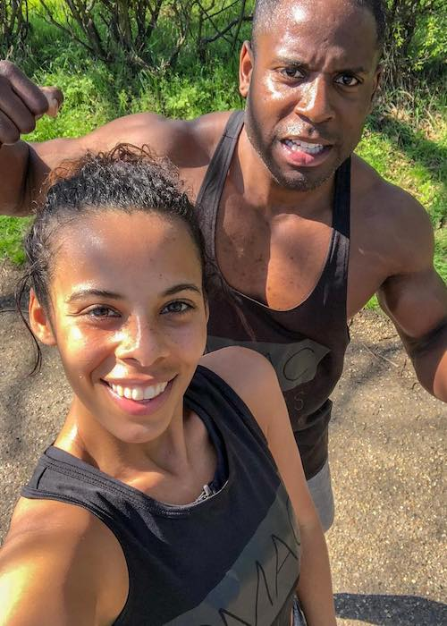 Peter Mac and Rochelle Humes in a selfie in April 2018