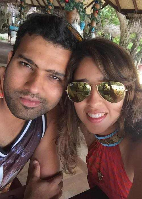 Ritika Sajdeh with Rohit Sharma in an Instagram selfie in December 2015