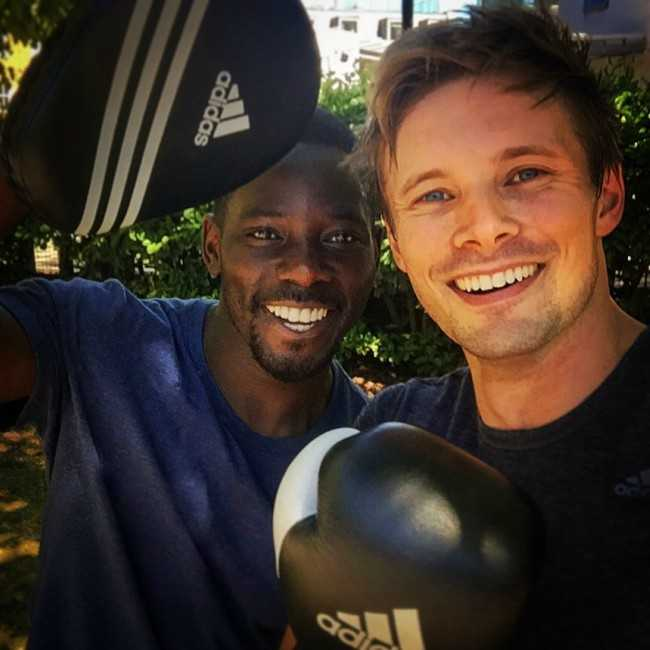 Bradley James in a Selfie with Lawrence Amaah in August 2016