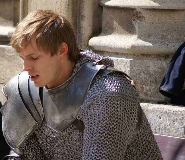 Bradley James on the set of Merlin in April 2010