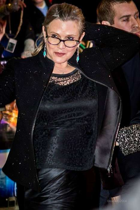 Carrie Fisher at the European Film Premiere of Star Wars in December 2015