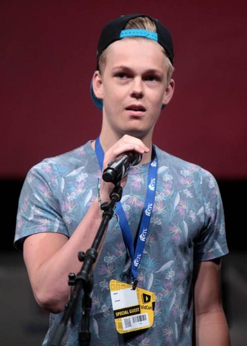 Caspar Lee speaking at the VidCon in June 2014