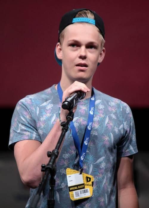Caspar Lee speaking at the VidCon in June 2014