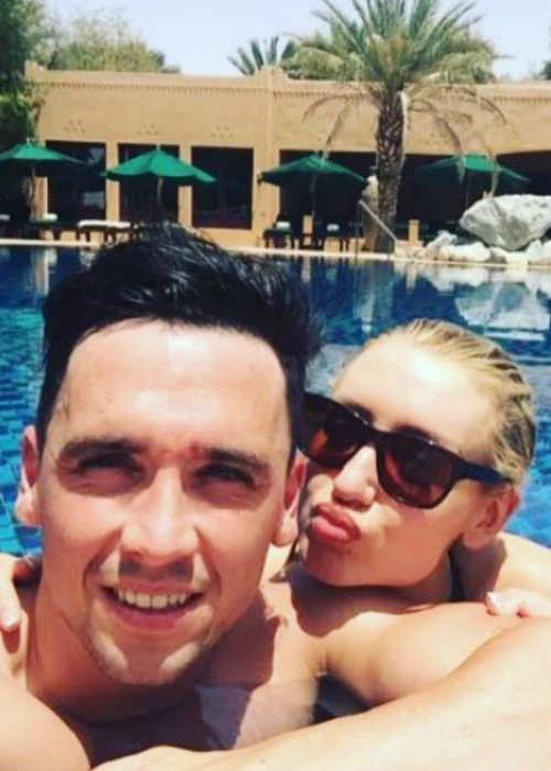 Catherine Tyldesley and Tom Pitfield in a selfie in August 2017Catherine Tyldesley and Tom Pitfield in a selfie in August 2017