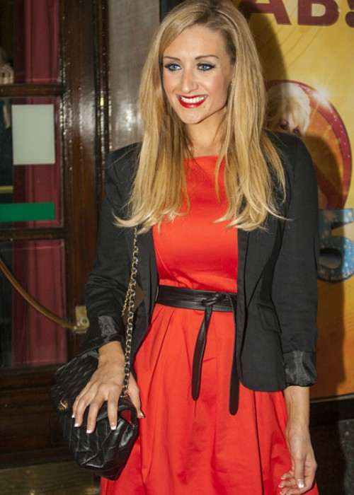 Catherine Tyldesley outside the Manchester Opera House in October 2012