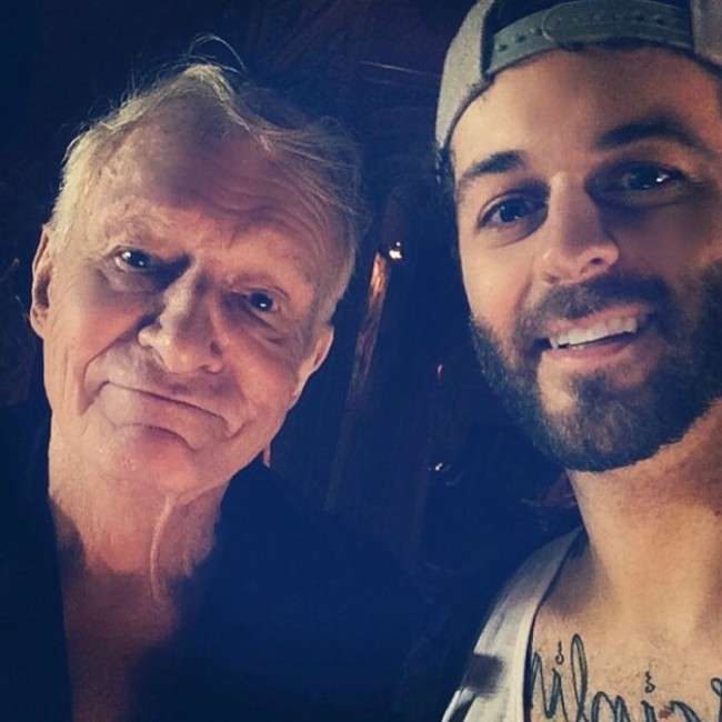 Curtis Lepore (Right) and Hugh Hefner in a selfie