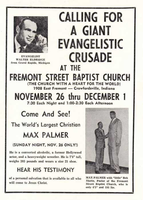 Flyer for a Baptist Crusade Including Max Palmer