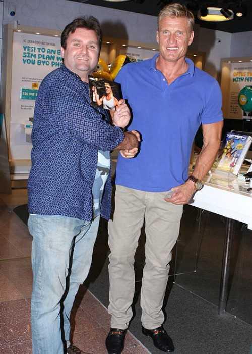 Greg Tingle and Dolph Lundgren in September 2014