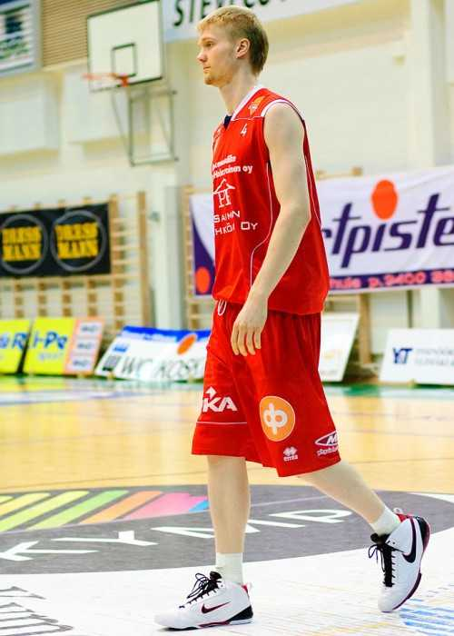 Joonas Suotamo Playing for the Lappeenrannan NMKY Against KTP-Basket at Steveco Areena in Kotka in Finland