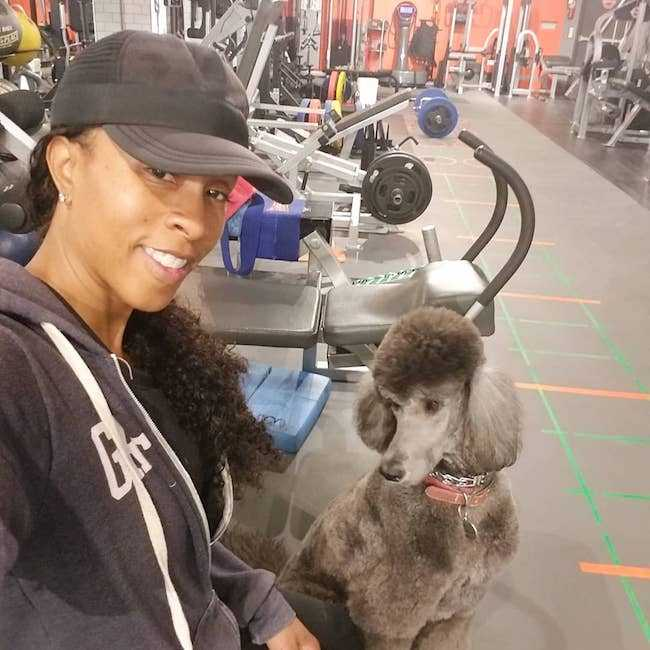 Latreal Mitchell with her dog Storm Mitchell in December 2017 in the gym