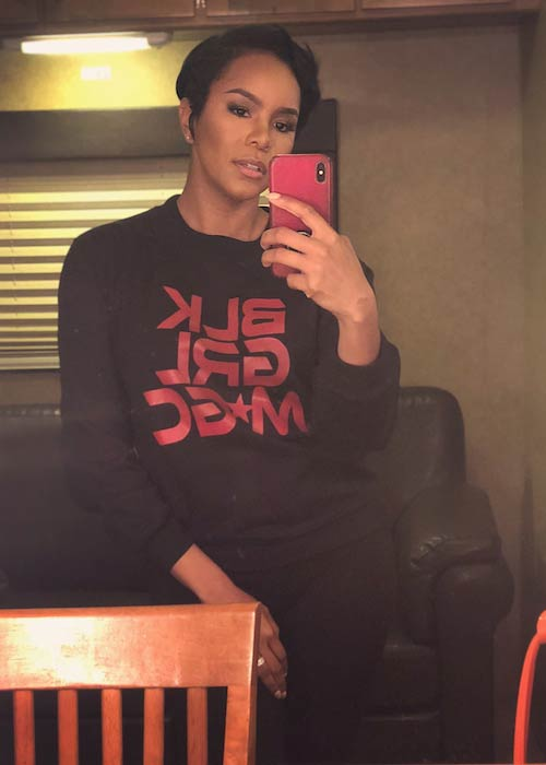 LeToya Luckett wearing Black Girl Magic sweatshirt in April 2018