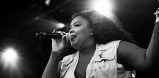 Lizzo singing at Day Two of Boston Calling in May 2016