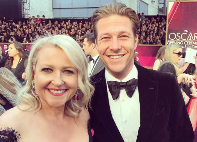 Luke Bracey and Angela Bishop in a selfie in February 2017