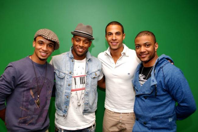 Marvin Humes (Third from Left) with the JLS group in April 2010