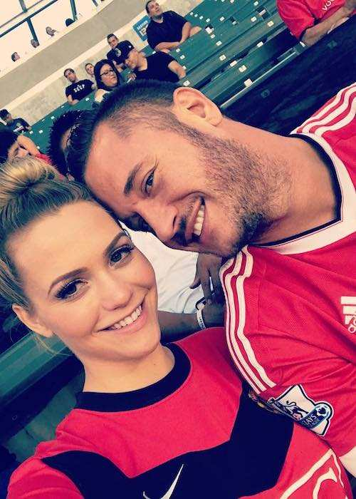 Mia Malkova and Danny Mountain at a football game between LA Galaxy and Manchester United in July 2017
