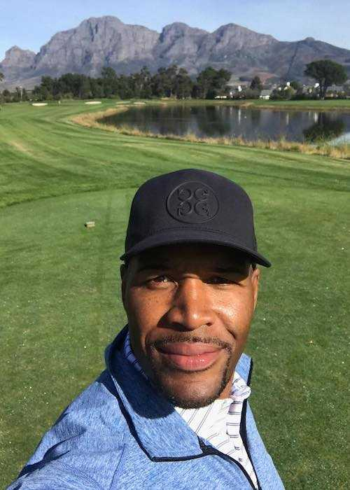 Michael Strahan after playing golf at Pearl Valley outside of Cape Town in July 2017