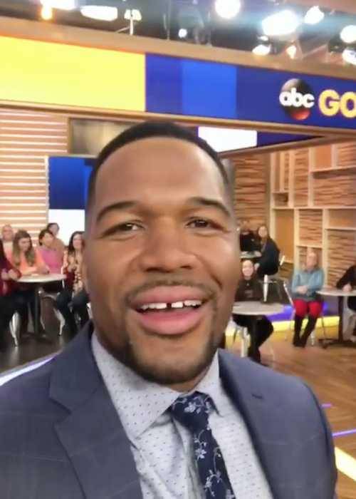 Michael Strahan on the set of Good Morning America in November 2017