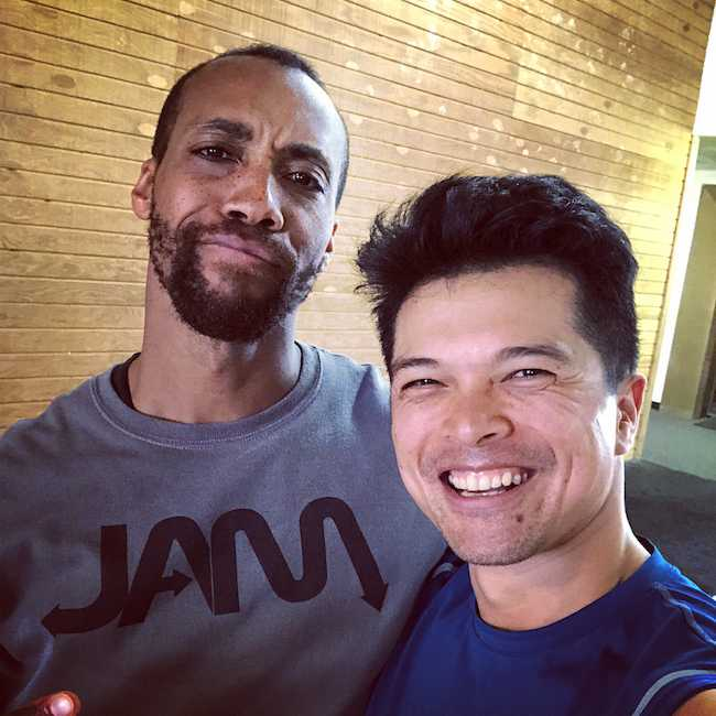 Vincent Rodriguez III with stunt performer Aaron Toney in a January 2018 selfie