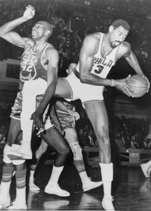 Wilt Chamberlain and Nate Thurmond During a Basketball Game in 1966
