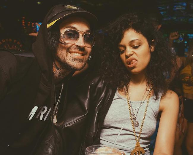 Yelawolf hanging out with Fefe Dobson in April 2018