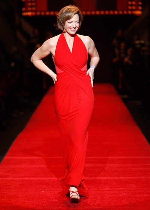 Allison Janney during a ramp walk at The Heart Truth Fashion Show 2008