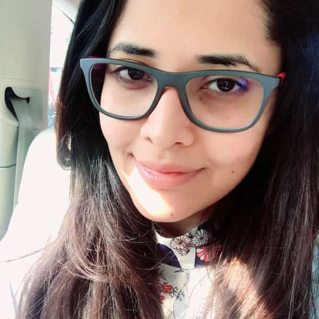 Anasuya Bharadwaj in a selfie in January 2018
