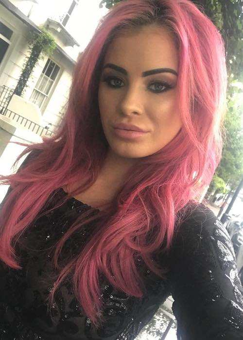 Carla Howe in pink hair in an Instagram selfie in August 2017