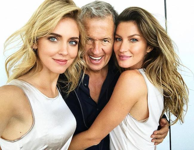 Chiara Ferragni (Fashion Designer), Mario Testino (Center), Gisele Bundchen (Supermodel) in a selfie in November 2017