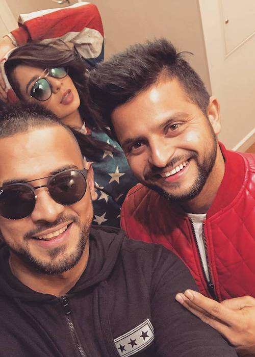 Garry Sandhu in a selfie with Suresh Raina and Jasmine Sandlas in January 2018