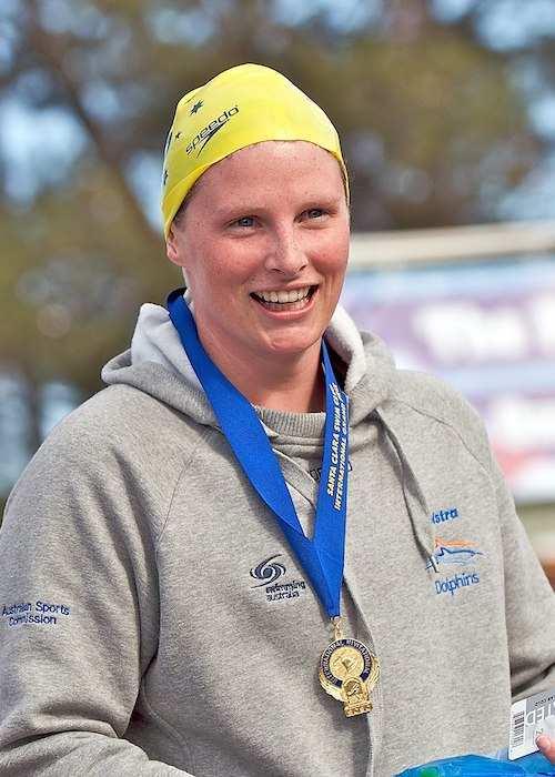 Leisel Jones after winning the 100 meter breaststroke in 2009