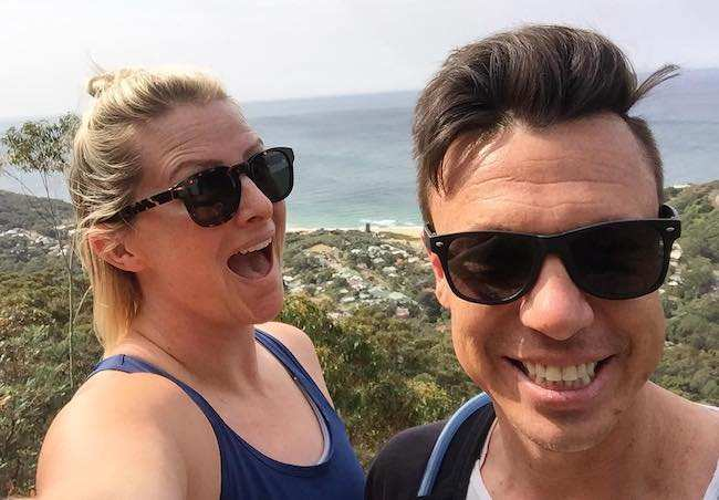 Leisel Jones with partner Damon Martin in a selfie during a hike in September 2017