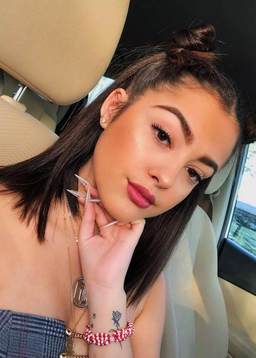 Malu Trevejo in a car selfie in January 2018