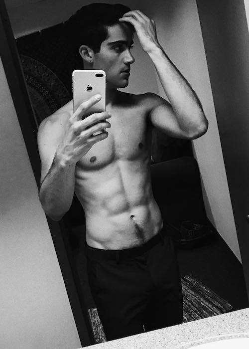 Max Ehrich shirtless body in an Instagram selfie in June 2017