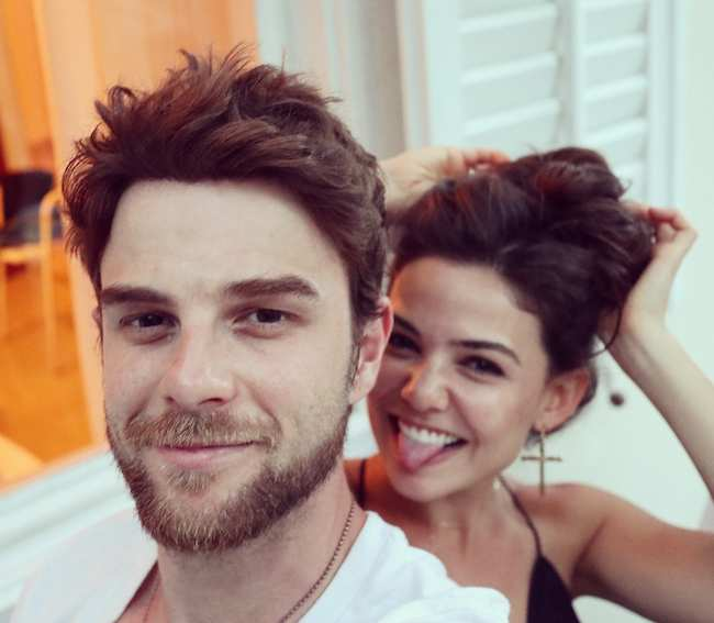 Nathaniel Buzolic and Danielle Campbell in July 2017