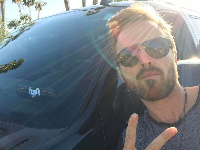 Aaron Paul in a selfie after a free ride in April 2017