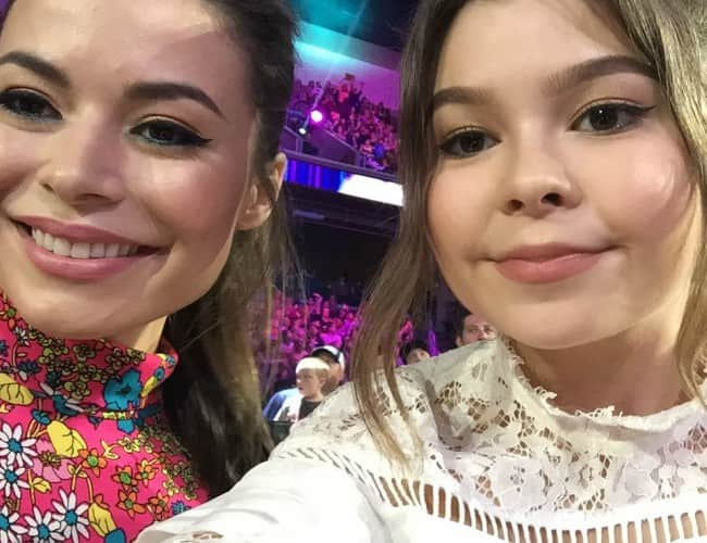 Addison Riecke (Right) and Miranda Cosgrove in a selfie in March 2017