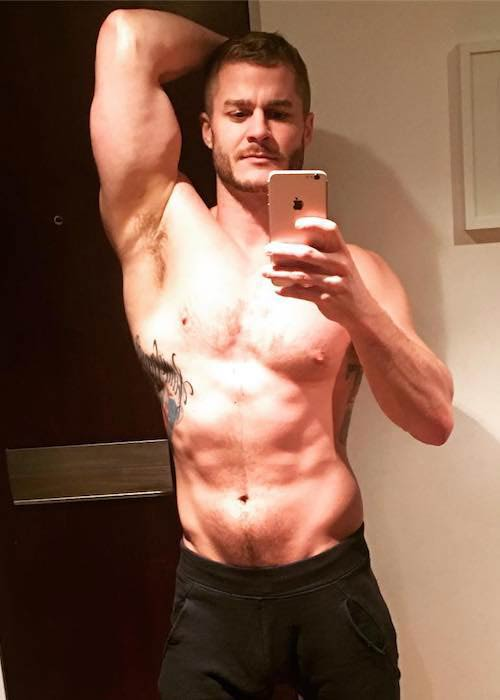 Austin Armacost shirtless body on display while holidaying in Slovakia in February 2017