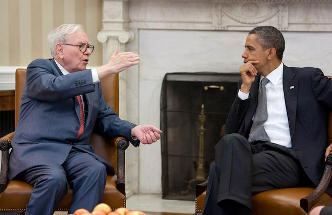 Barack Obama in a meeting with Warren Buffett in the Oval Office in July 2011