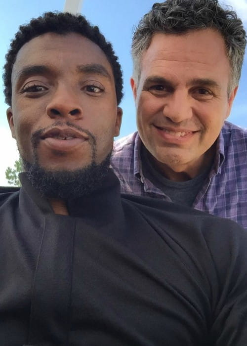 Chadwick Boseman and Mark Ruffalo in a selfie in June 2017