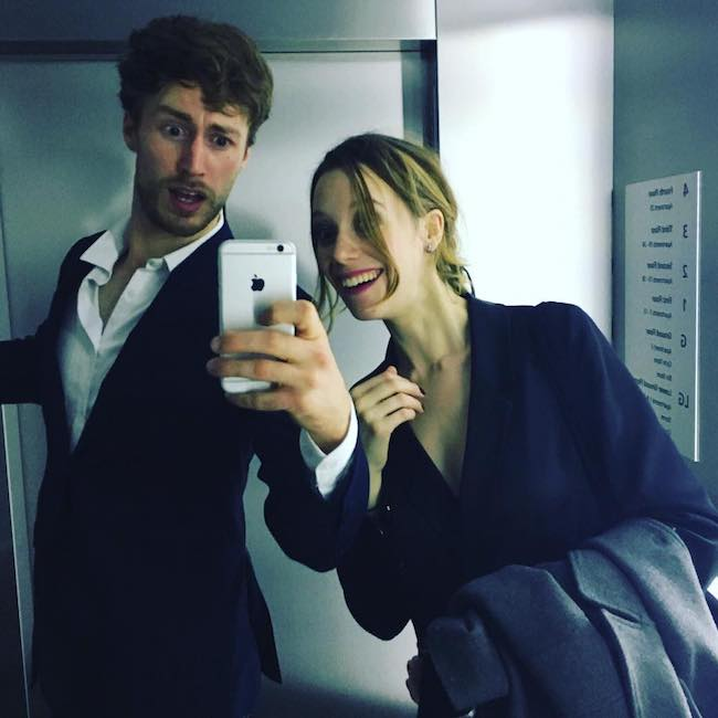 Chloe Pirrie with Hugo Bolton inside a lift in October 2016