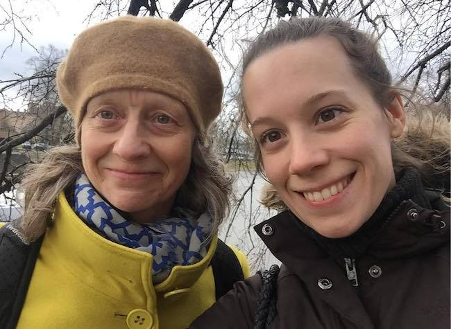 Chloe Pirrie with her mom during a day out in March 2017