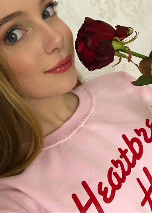 Eleanor Worthington Cox in a selfie on Valentine's Day in 2018