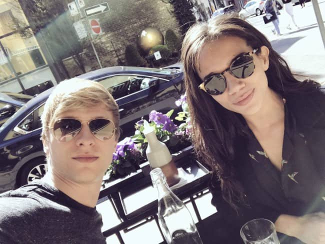 Hannah John-Kamen and Will Tudor in a selfie in April 2017