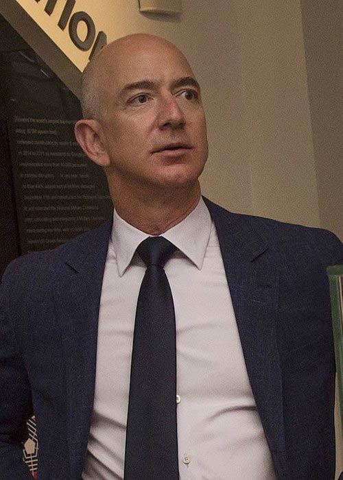 Jeff Bezos during a meeting with Secretary of Defense Ash Carter on May 5, 2016
