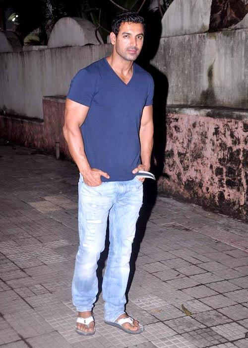 John Abraham during Abhishek Bachchan's film screening of 'Bol Bachchan' in 2012