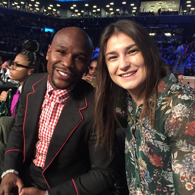 Katie Taylor and Floyd Mayweather at Brooklyn in 2017
