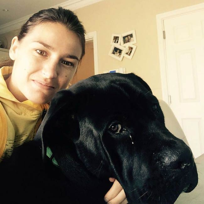 Katie Taylor with her dog in a selfie in September 2015