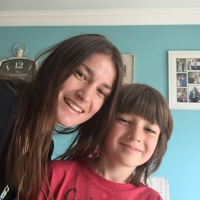 Katie Taylor with her godson Luke Fisher in January 2018