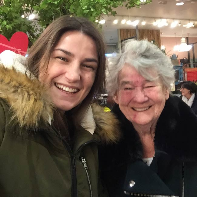 Katie Taylor with her granny on a lunch date in February 2018
