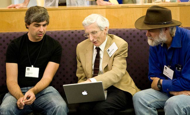 Larry Page, Martin Rees, and Simon Quellen Field [From Left] at a conference in 2008